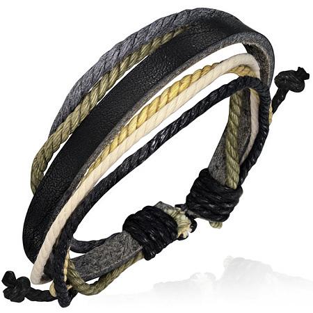 Leren armband met Touw Multi Wrap fbk436