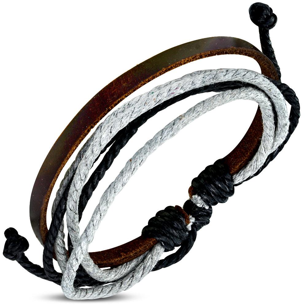 Leren armband met Touw Multi Wrap fwb020