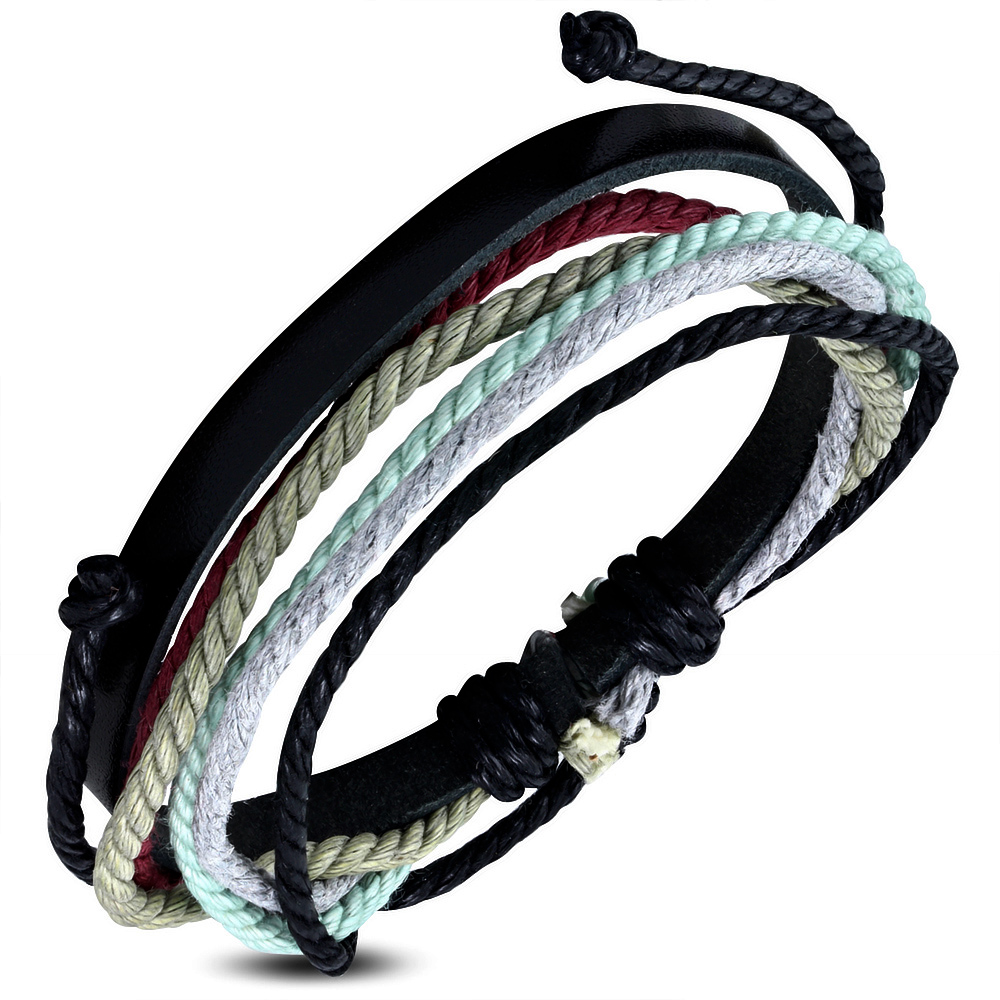 Leren armband met Touw Multi Wrap fwb131