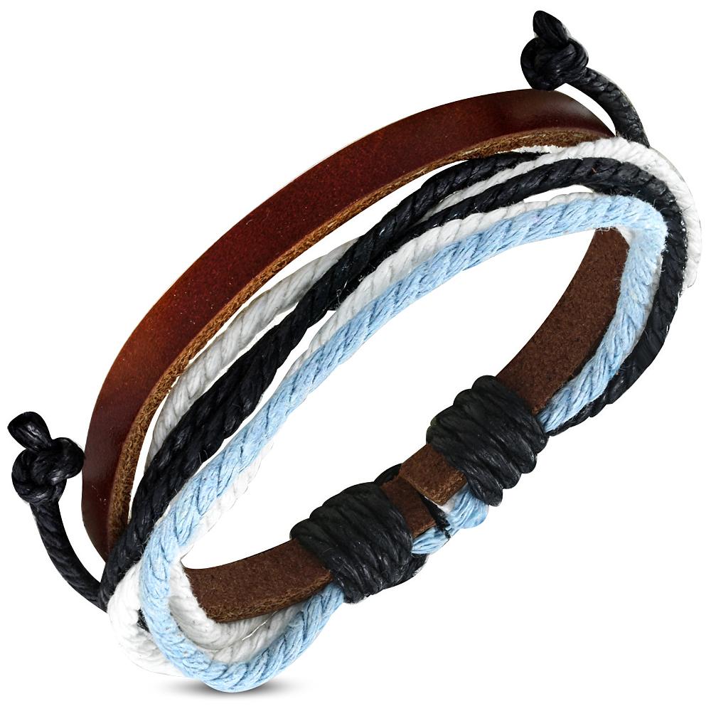 Leren armband met Touw Multi Wrap fwb024