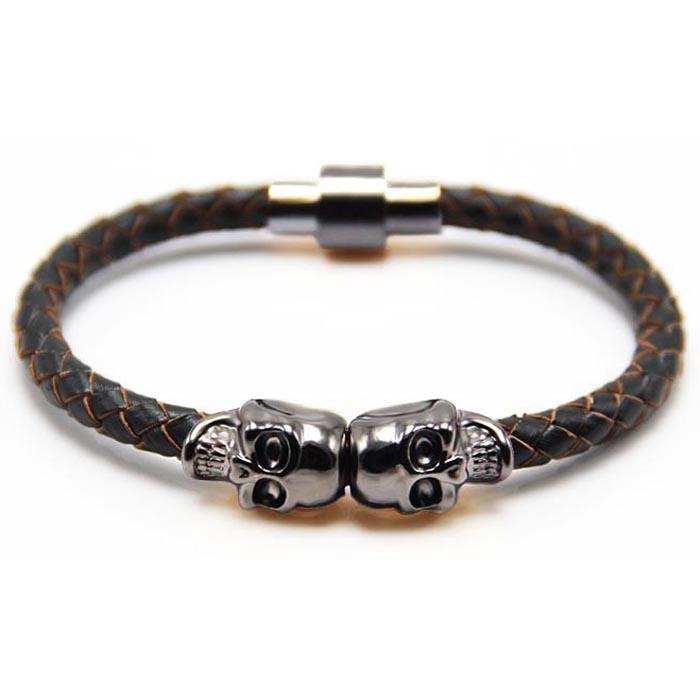 Leren armband Twin Skull Grijs Bruin