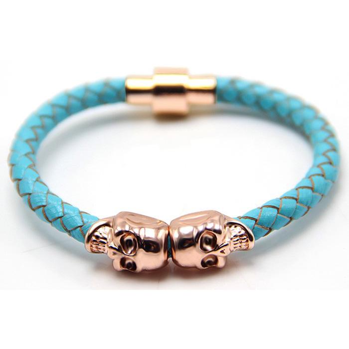 Leren armband Twin Skull Rose Turquoise
