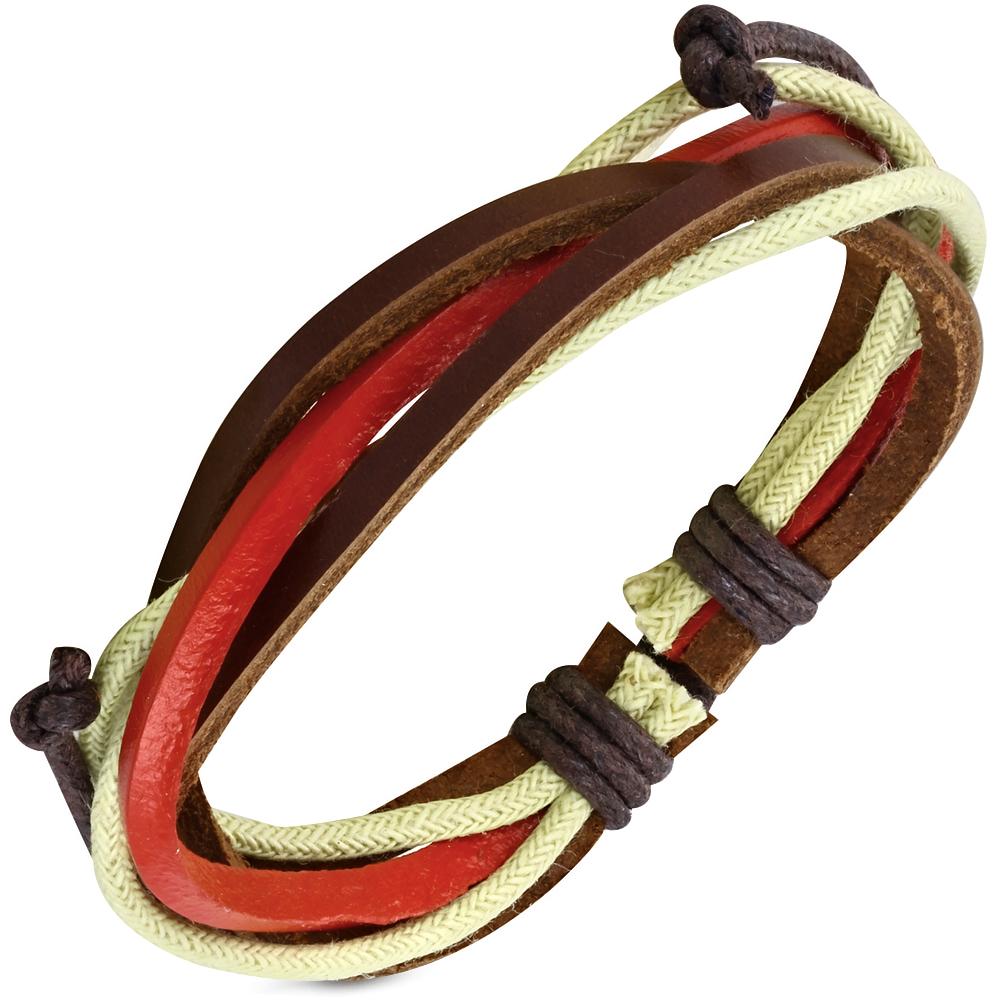Leren armband Wrap Red Brown