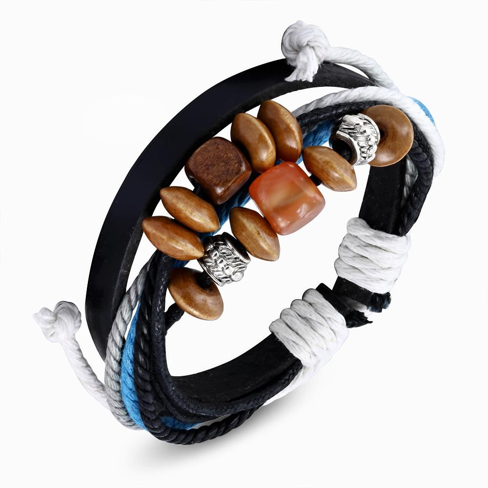 Leren armband Wrap Rope Karma Bead fwb116