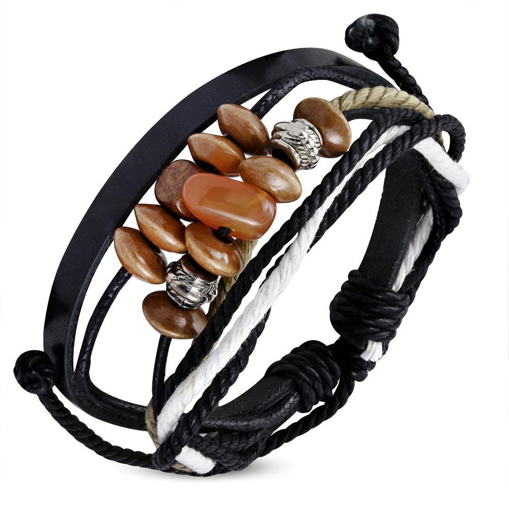 Leren armband Wrap Rope Karma Bead fwb118