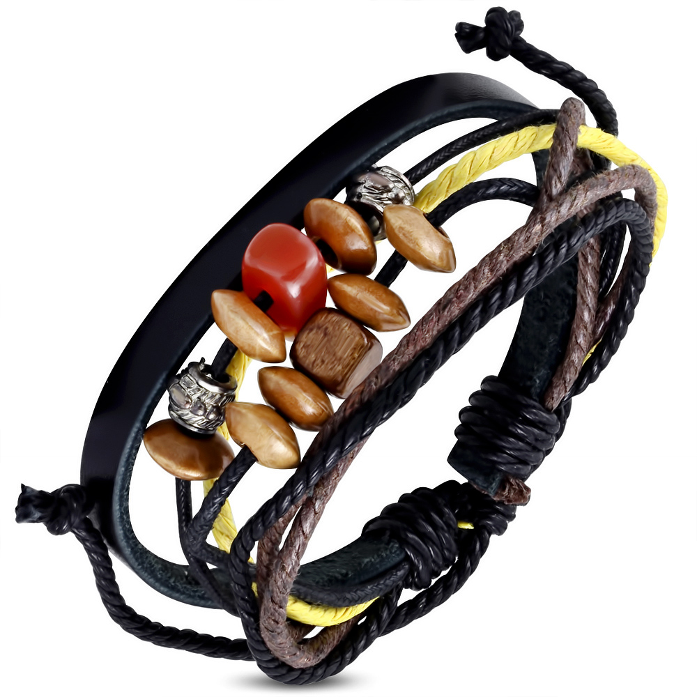 Leren armband Wrap Rope Karma Bead fwb120