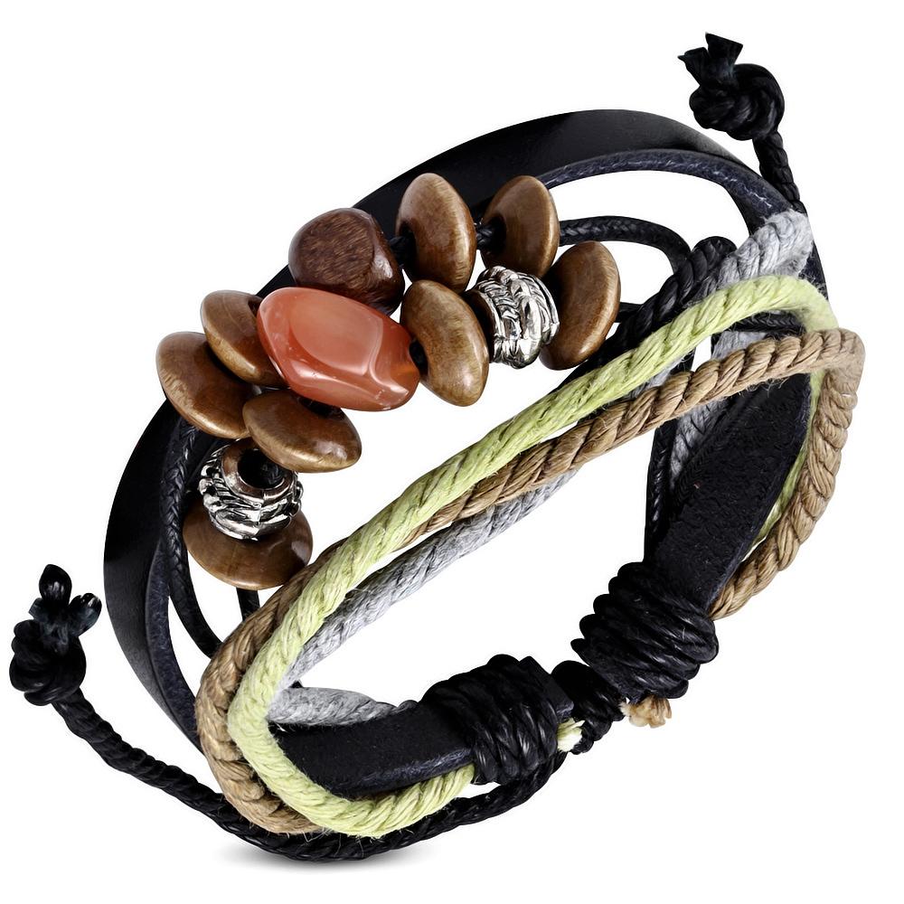 Leren armband Wrap Rope Karma Bead fwb121