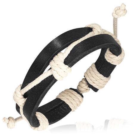 Leren armband zwart met wit touw