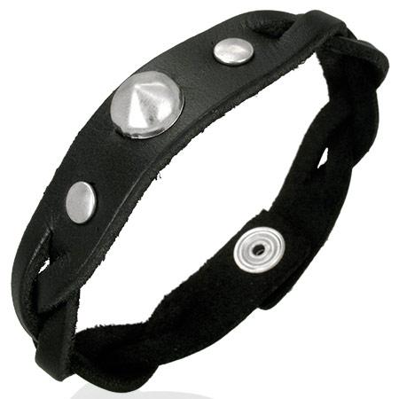 Leren armband Black Leather Pyramid