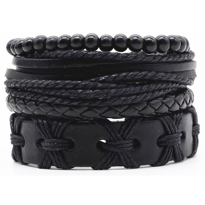Leren armbanden set met houten kralen zwart