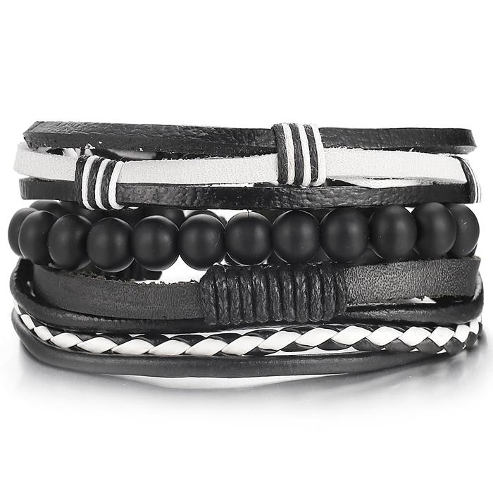 Leren armbanden set met zwarte houten kralen