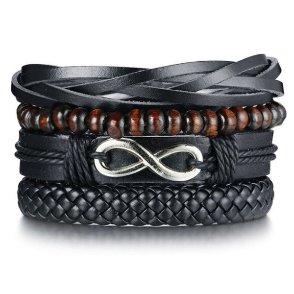 Leren armbanden Set Zwart Infinity Houten Kralen