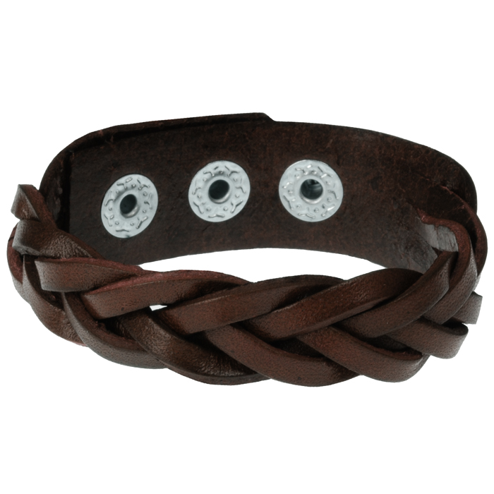 Leren mannen armband Twisted Wrap Donkerbruin