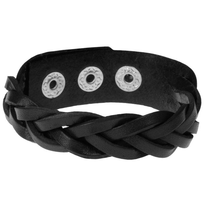 Leren mannen armband Twisted Wrap Zwart