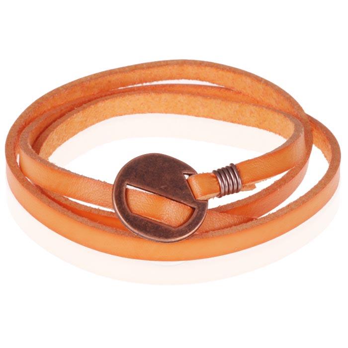 Leren Wikkelarmband LGT Jewels Verstelbaar Oranje