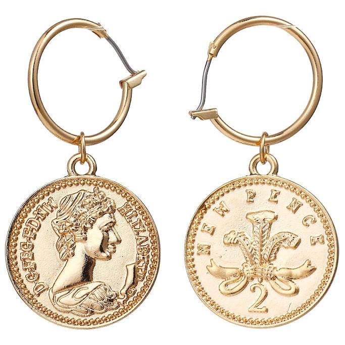 LGT Jewels Damesoorbellen met New Pence Coin Queen Elizabeth