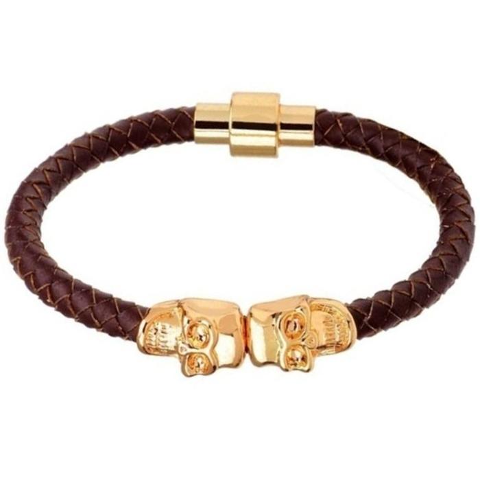 LGT Jewels Leren armband Edelstaal Twin Skull Goudkleurig Bruin