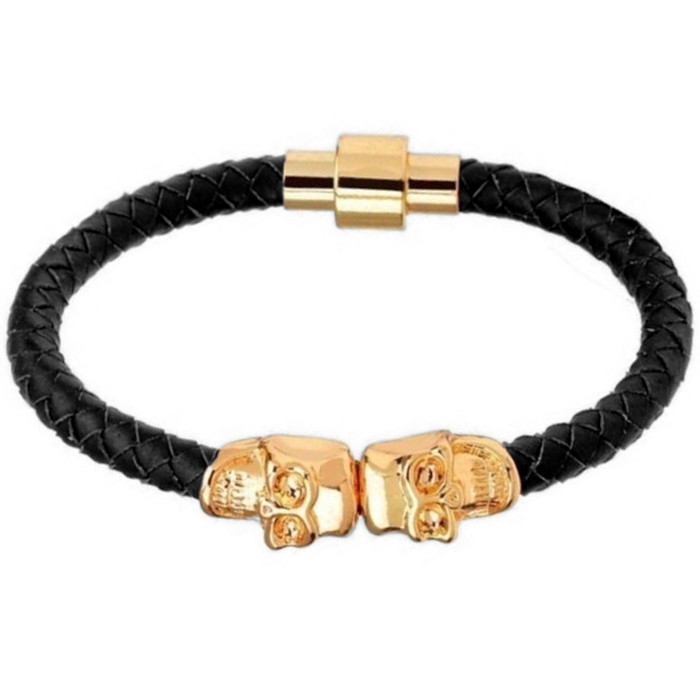 LGT Jewels Leren armband Edelstaal Twin Skull Goudkleurig Zwart