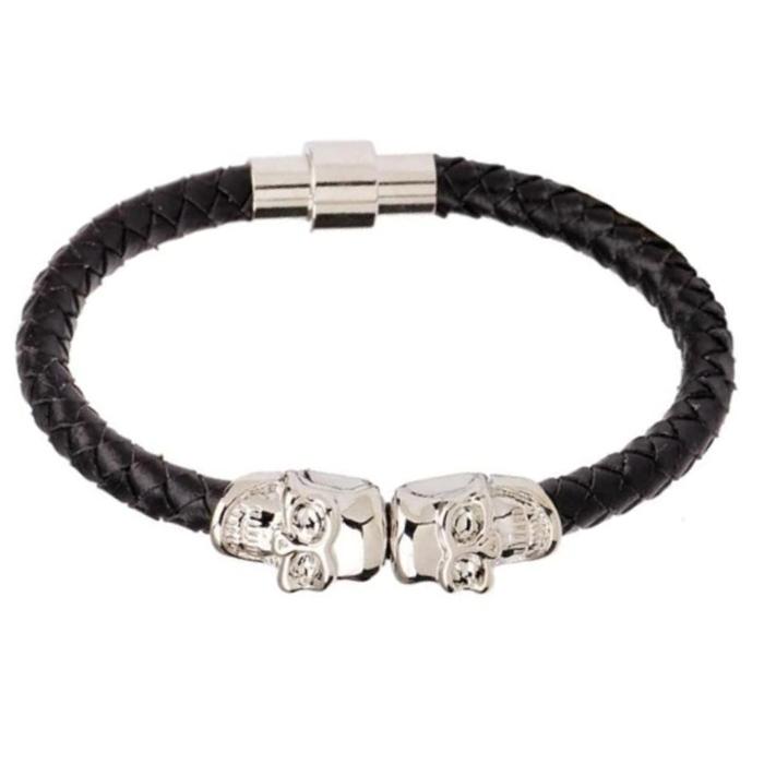 LGT Jewels Leren armband Edelstaal Twin Skull Zwart Zilverkleurig