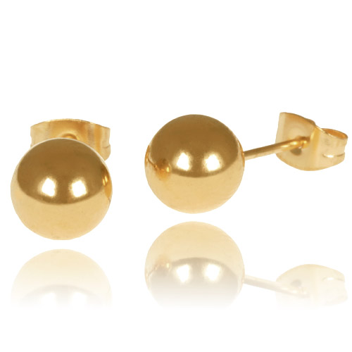 LGT Jewels Stud oorbellen Bol Goud 6mm