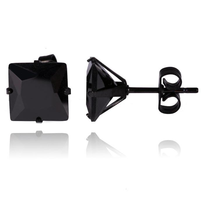 LGT Jewels Stud oorbellen Edelstaal Black Edition 6mm