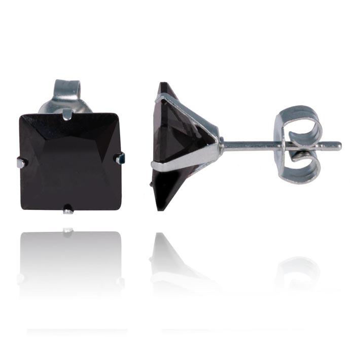 LGT Jewels Stud oorbellen Edelstaal Classic Black 4mm