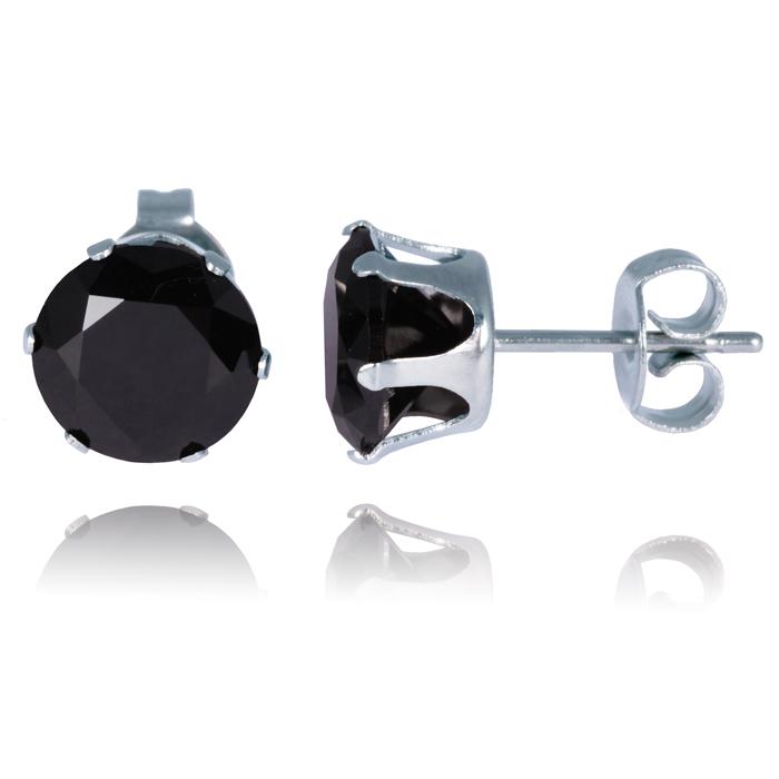 LGT Jewels Stud oorbellen Edelstaal Classic Round Black 6mm