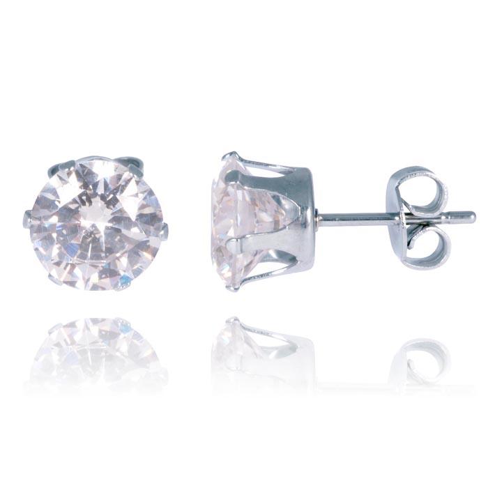 LGT Jewels Stud oorbellen Edelstaal Classic Round Transparent 6mm