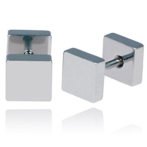 LGT Jewels Stud oorbellen Square zilver 6mm