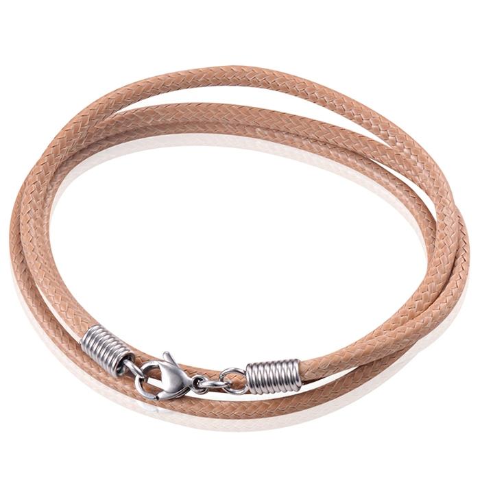 LGT Jewels waxkoord ketting Lichtbruin - 2.5mm-55cm