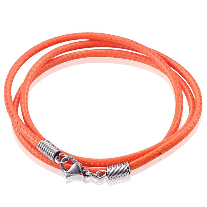 LGT Jewels waxkoord ketting Oranje 2.5mm 65cm