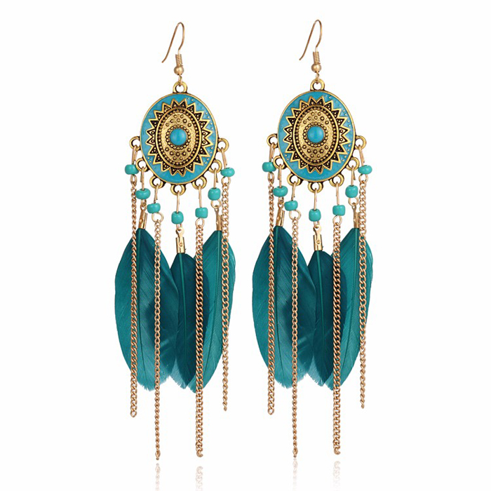 Long Feather oorbellen Indian Turquoise goud