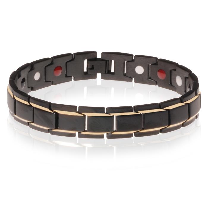 Magnetische heren armband Edelstaal Mat Zwart met goud