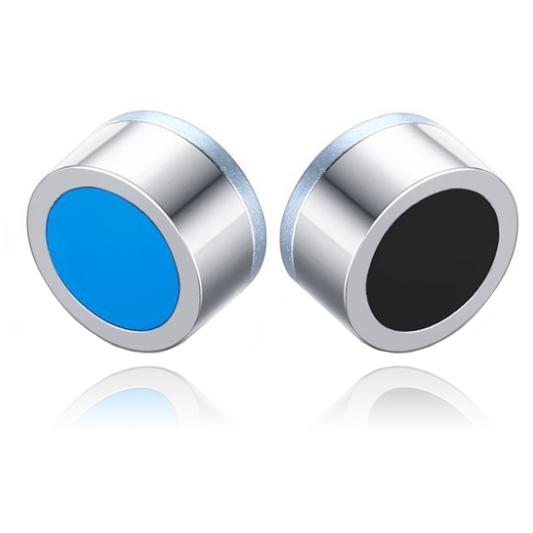 Magnetische Stud oorbellen Zwart Lichtblauw 8mm