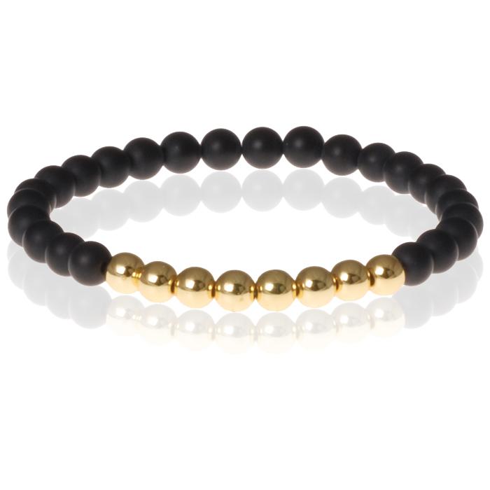 Zwarte Matte Agaat kralen armband Gold Beads 6mm