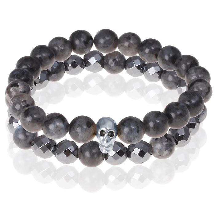 Matte Agaat kralen armband Hematiet Zilverkleurige Skull
