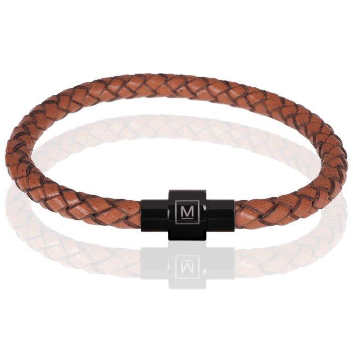 Memphis armband leer en edelstaal Bruin Zwart