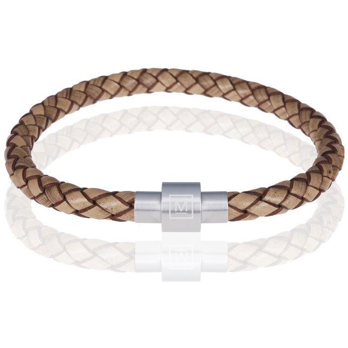 Memphis armband leer en edelstaal Lichtbruin Zilver
