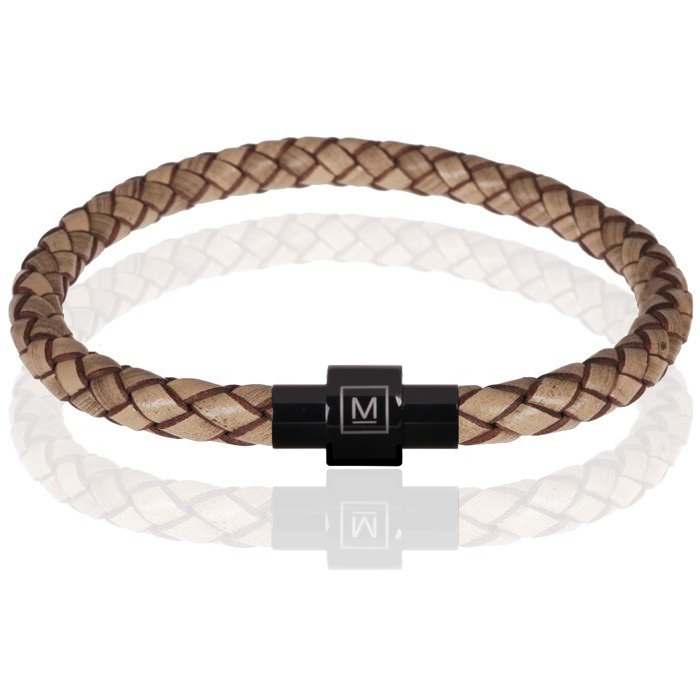 Memphis armband leer en edelstaal Lichtbruin Zwart