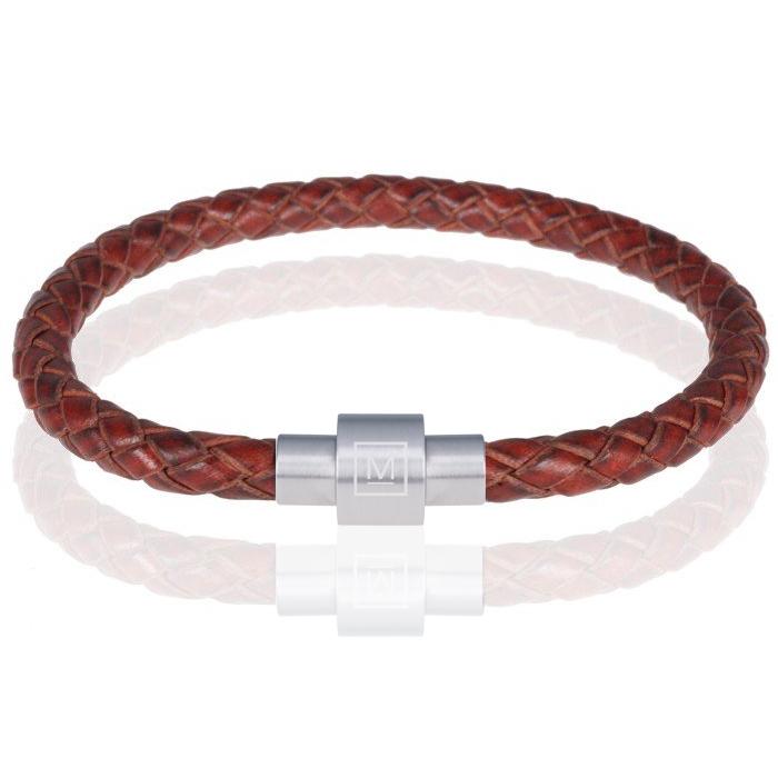 Memphis armband leer en edelstaal Roodbruin Zilver