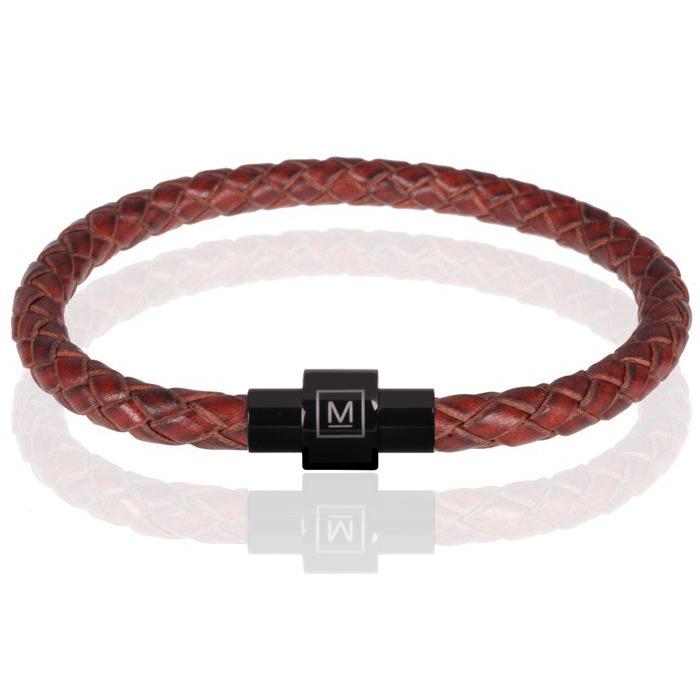 Memphis armband leer en edelstaal Roodbruin Zwart