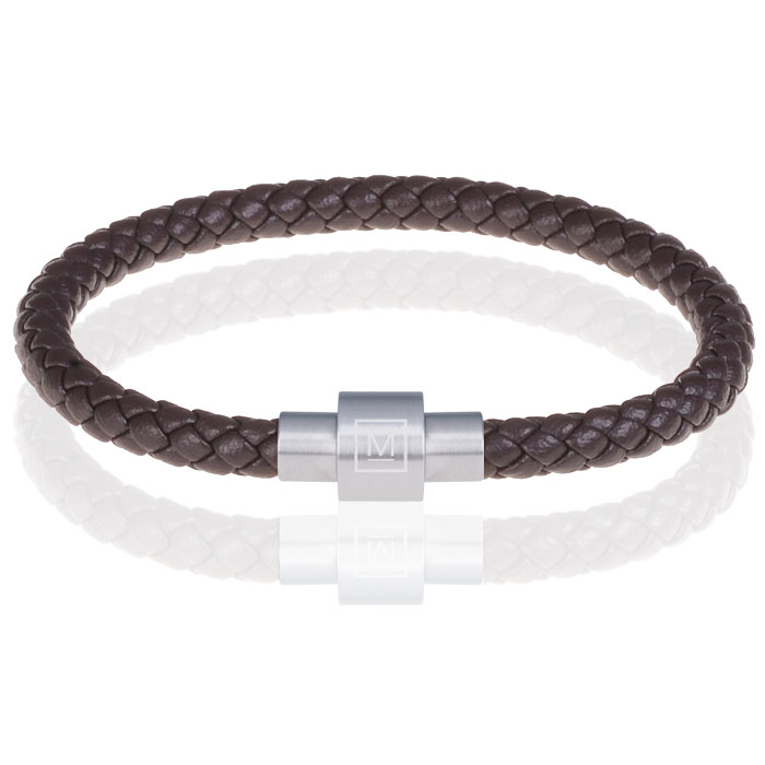 Memphis armband leer met edelstaal Donkerbruin Zilver-24cm