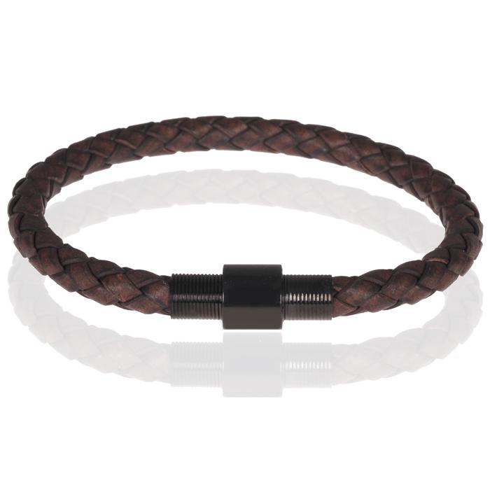 Memphis armband leer met edelstaal Donkerbruin Zwart