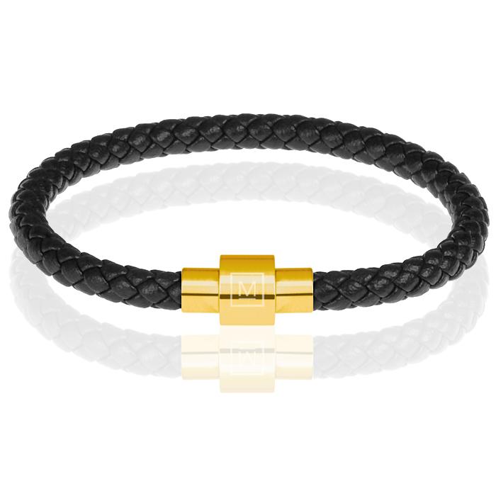 Memphis armband leer met edelstaal Zwart Goud