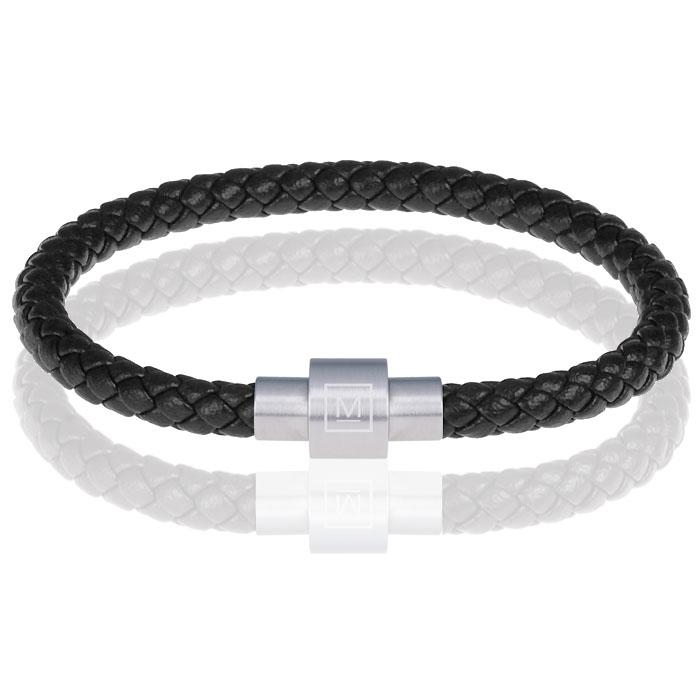 Memphis armband leer met edelstaal Zwart Zilver-17cm