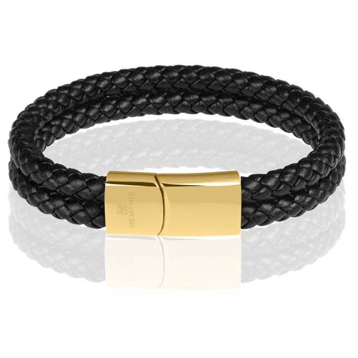 Memphis dubbele leren armband Zwart Goud-20cm