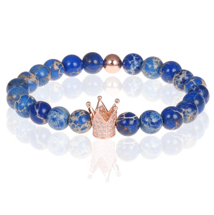 Memphis heren armband Blauwe kralen Rose Kroon