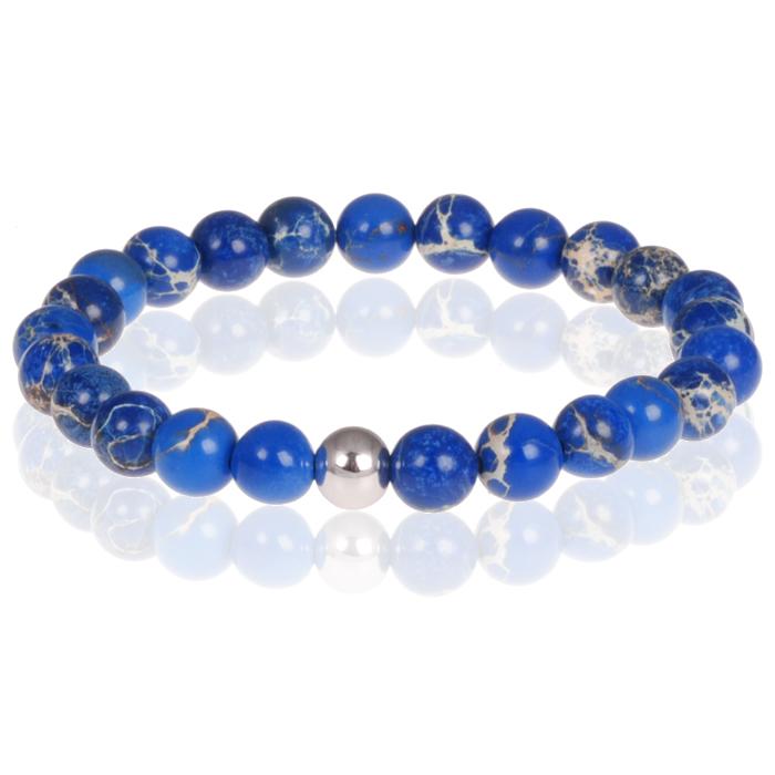 Memphis heren armband natuursteen blauwe kralen