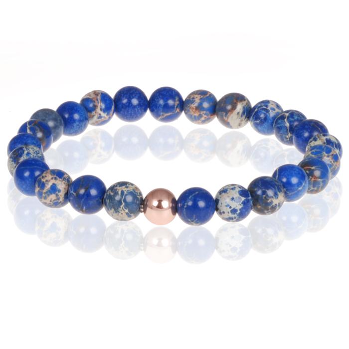 Memphis heren armband natuursteen kralen blauw
