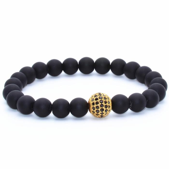 Memphis kralen armband Agaat Pave Bead Gold